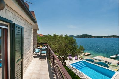 Adorable Beachfront Villa with Pool and Beautiful Garden with Barbecue near Rogoznica