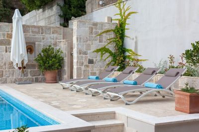 Traditional Dalmatian Sea View Stone Villa with Pool Makarska Riviera