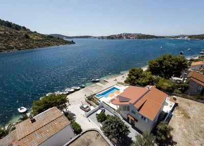 Delightful Beachfront Villa with Pool with Heating Possibility near Rogoznica