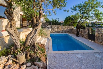 Adorable Holiday Villa with Pool First Row to the Sea and in Front of the Beach near Trogir